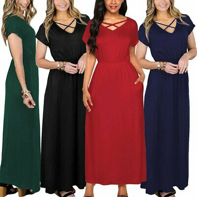 AU14.99 • Buy Womens Boho Shirt Dress Summer Long Casual Elegant Maxi Loose Short Sleeve AU