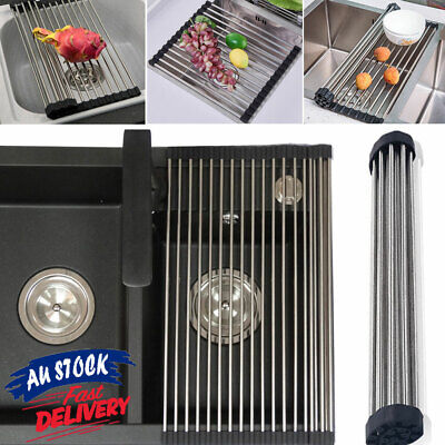 AU16.95 • Buy Stainless Steel Drainer Folding Drying Roll-Up Kitchen Over Sink Rack Dish Tray