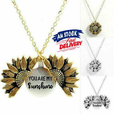 AU9.06 • Buy You Are My Sunshine Chain Sunflower Pendant Open S4 Necklace Locket Gold