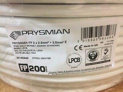 Prysmian PRYSMIAN FP200 GOLD FIRE PROTECTED CABLE 2-CORE 2.5MM² X 100M WHITE • 144£