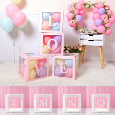 $4.99 • Buy Letter Cube Transparent Gift Boxes Kid Birthday Baby Shower Party Decoration