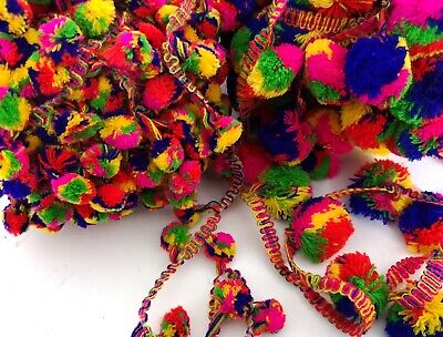 Jumbo Med Small Multicoloured Rainbow POM POM Trim Crafts Sewing 3 Metre Length • 5.99£