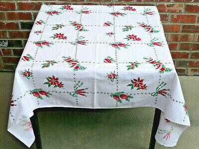 $ CDN40.60 • Buy Vintage 50's 60's Christmas Tablecloth ~ Bells, Ornaments, Pine Cones, Candles,