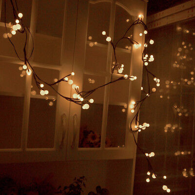 2.5M 72 Globe Ball LED Fairy Light Twig Branch Christmas Garland Wreath Party UK • 5.95£