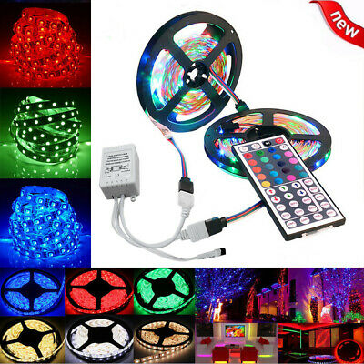 $11.83 • Buy 10M 3528 SMD RGB 600 LED Lighting Strips 44 Key Remote Controller For TV, Room
