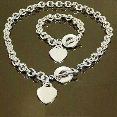 Heart T-Bar Chain Necklace Bracelet Set Women Girls Jewellery LH • 3.14£