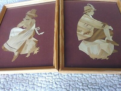 Framed Art Shaved Wood Farmhouse Thinking Woman And Man On Box Brown 10.5 X 8.5 • 17.45£