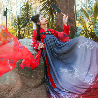$ CDN46.27 • Buy Womens Chinese Ancient Ruqun Embroidery Hanfu Fancy Long Dress Cosplay Costume @