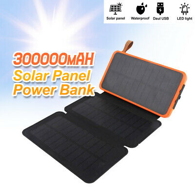 AU29.86 • Buy Portable Solar Charger Dual USB 300000mAh External Battery Power Bank Waterproof