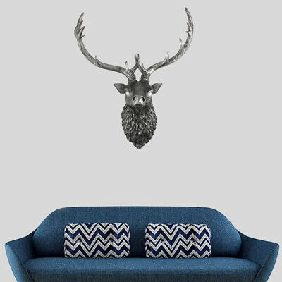 Large Wall Mounted Deer Head Animal Head Stag Head Large Silver Stag Wall Art UK • 18£