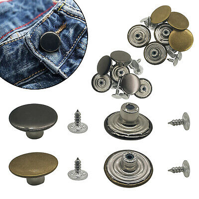 17mm/20mm Plain Jeans Buttons With Pins Replacement Hammer On Denim Jacket Coats • 2.79£
