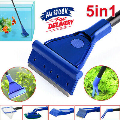 AU12.19 • Buy 5 in 1 Aquarium Cleaning Tool Fish Tank Algae Vacuum Gravel Cleaner Brush Kit