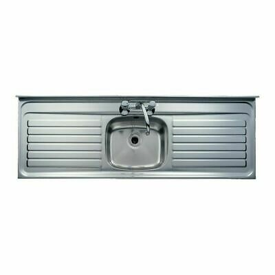 Single Bowl Double Drainer Stainless Steel Kitchen Sink Lay/Sit On Unit 63 X 21  • 229£