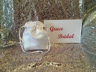 £4.99 • Buy White Holy Communion Diamante Scattered Duchess Satin Dolly Bag Maid F/girl