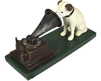 HMV Type Nipper Dog Phonograph Gramophone Music Cast Iron Ornament • 20£