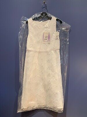 £8.95 • Buy Girls Size 10 Long White Dress, Lace, Wedding, Confirmation, Pagent, Dance, NWT
