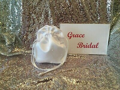 £4.99 • Buy White Holy Communion Pearl Scattered Duchess Satin Dolly Bag Maid F/girl