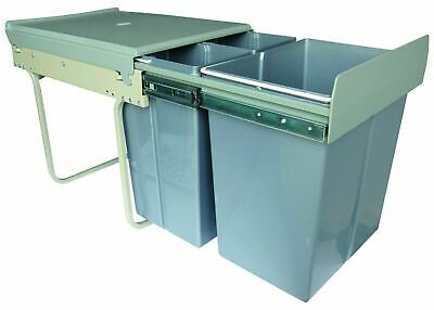 £135 • Buy 400mm Built In Waste Bin Hinged Doors 40 Litres Grey X3 Containers Base Mount