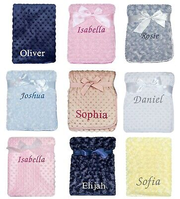 £13.90 • Buy Baby Girl Boy Personalised Blanket Embroidered Name Grey Pink Blue White Yellow