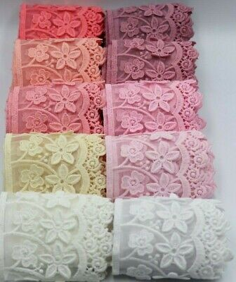 3 D 1 Yard Two Layers Chiffon And Cotton Lace Trim For Wedding And Embellishment • 3.99£
