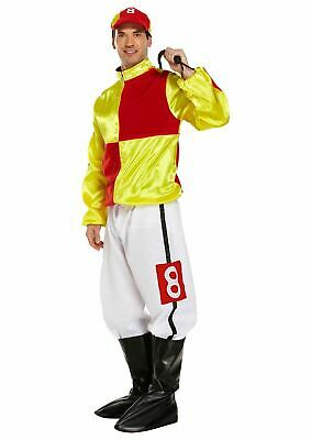 Adult Rider Horse Jockey Red And Yellow Mens Stag Night Fancy Dress Party Outfit • 24.99£