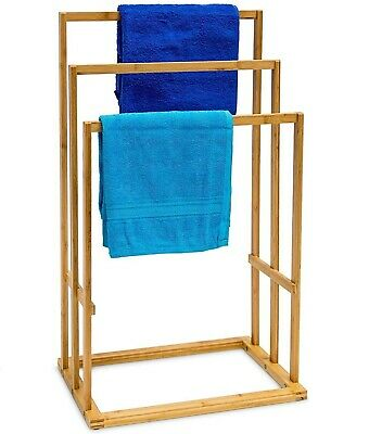 Bamboo Wood Wooden Towel Holder Rail Stand & Toilet Rolls Holder Classic Finish  • 11.79£