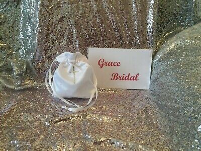 £5.99 • Buy WHITE HOLY COMMUNION DIAMANTE CROSS & SCATTERED DIAMANTE DOLLY BAG Free Swatches