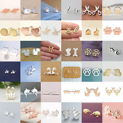 $ CDN1.30 • Buy  Fashion Women's Girl 925 Silver Sterling Earrings Cute Ear Stud Jewelry Gifts