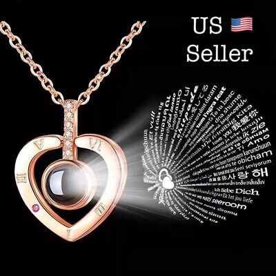 $6.75 • Buy I LOVE YOU In 100 Languages Light Projection Heart Necklace Girlfriend Couple