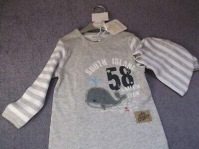 Brand<new<branded< Babaluno Baby Grey And White Whale Sleep Suit With Hat. 9-12m • 3£