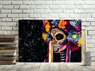 Day Of The Dead Sugar Skull Canvas Picture #77 Gothic Skull Canvas Wall Art • 19.99£