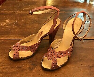 AU64.35 • Buy 1940's 50's LaPatti Lavender Rhinestone Stud Ankle Strap High Heel SHOES 5.5