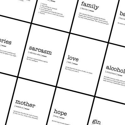 WORD DEFINITION Prints - Typography Funny Posters - A4 A3 A2 - Home Wall Art  • 3.49£