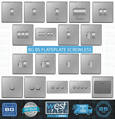 BG FLATPLATE SCREWLESS BRUSHED STEEL Switches Sockets Decorative Light ALL Inser • 9.49£