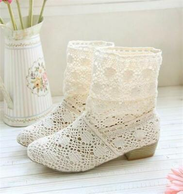 £29.17 • Buy Womens Summer Boots Block Heels Hollow Out Lace Breathable Knitted Casual Shoes