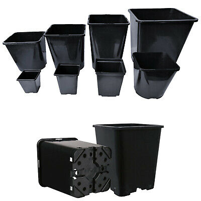 £19.31 • Buy Square Plant Pots Strong Black Reusable Gardening Flower Seed Grow Plastic Pot