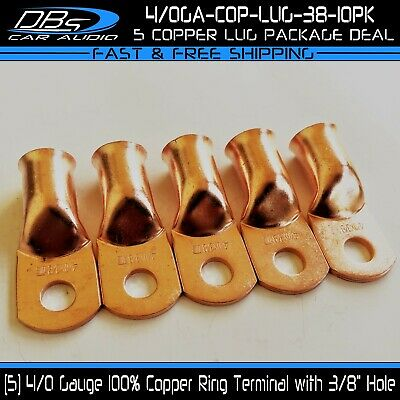 AU19.60 • Buy 5 4/0 Gauge 3/8  Hole 100% OFC Copper Ring Terminal Lug Battery Cable Connector
