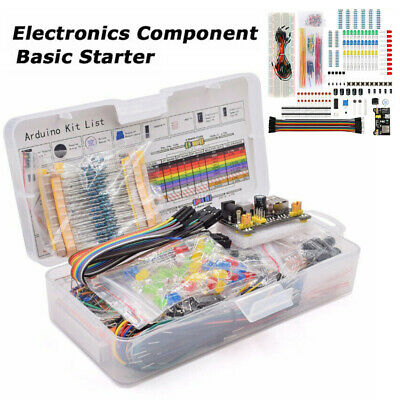 Electronic Component Starter Kit Wires Breadboard LED Buzzer Resistor Transistor • 10.99£