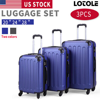"View Details 3 Piece Luggage Carry On Set Trolley Suitcase Travel Spinner ABS+PC 20"" 24"" 28"" • 81.49$"