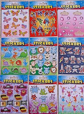 6 Packs Childrens Stickers Kids Boys Girls Sticker Sheets Party Loot Bag Fillers • 1.69£