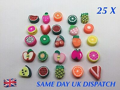 25 X Mixed Fruit Fimo Polymer Clay Beads - Craft Jewellery Making Spacer Beads  • 2.99£