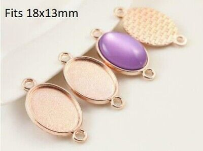 £6.25 • Buy 10pcsRose Gold Oval   Cabochon Connector  Settings Fits 18x13mm  Tray, Blank