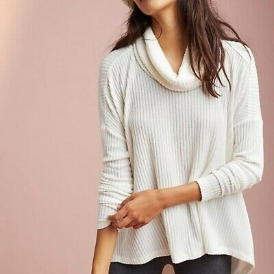$ CDN49.36 • Buy Anthropologie Saturday Sunday Ivory Brushed Cowl Neck Pullover Size XS/S
