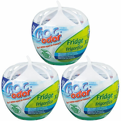 3 X Croc Odor XL Fridge Freshener Deodoriser Neutralises Food Smells Odours • 10.75£