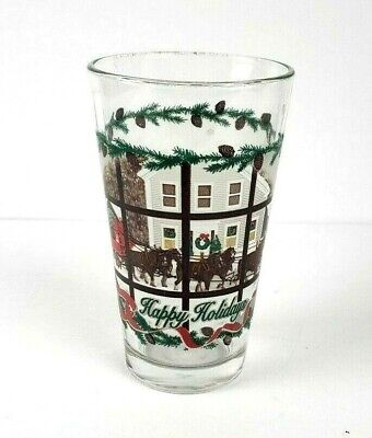 $ CDN24.70 • Buy Budweiser Happy Holiday Frosted Clydesdale & Wagon Pint Beer Glass