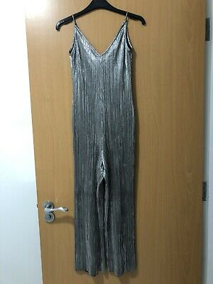 Topshop Silver Metallic Strappy Jumpsuit - Size 6 • 12.50£