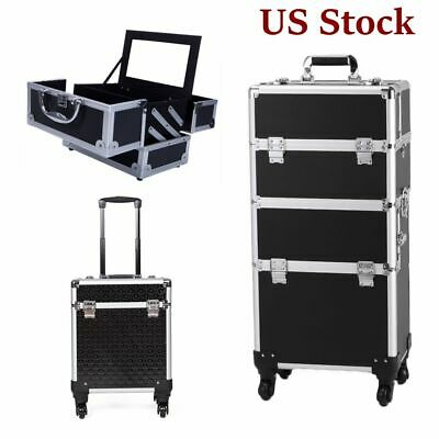 $78.51 • Buy Aluminum Rolling Makeup Train Case Professional Beauty Cosmetic Trolley Storage