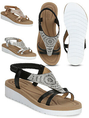 Comfortable Womens Ladies Branded Low Wedge Vegan Leather Sandals Shoes Size 3-8 • 9.99£
