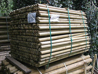 2.4m(8ft) X 50mm Machine Round Posts - Tree Stake/garden Netting Trellis  • 2.65£