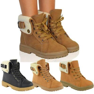 Womens Ladies Flat Ankle Boots Faux Fur Lace Up Warm Winter Worker Combat Shoes • 8.99£